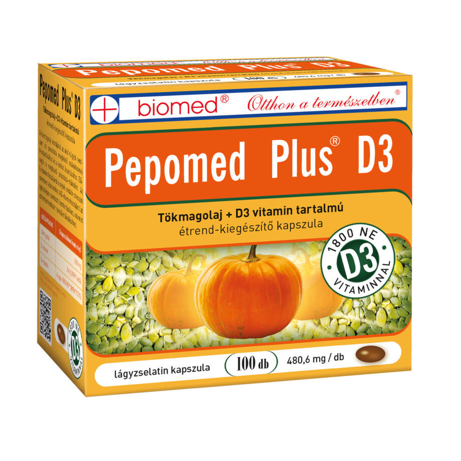 Biomed Pepomed Plus D3 tökmagolaj kapszula 100 db